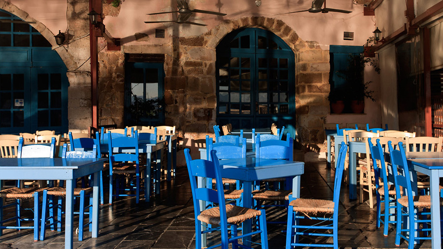 Terrassa típicament grega a Chania
