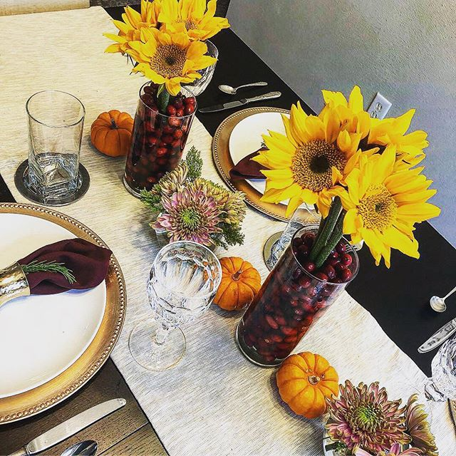 Feeling extra sunny this Thanksgiving! Happy turkey day to all. #thanksgiving2018 #tabledesign #sunflowers #tablescape