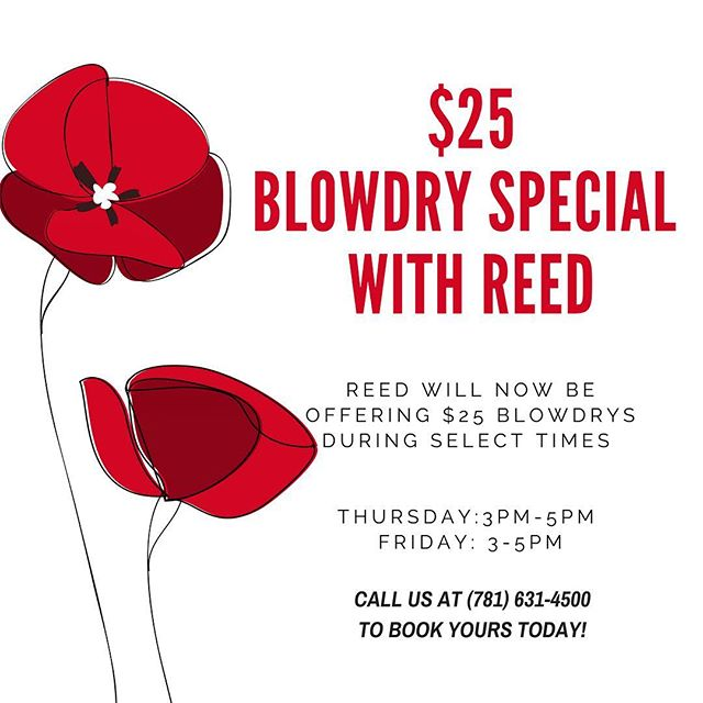 Reed will now be offering $25 blowdrys during select times! Call us to book yours today!