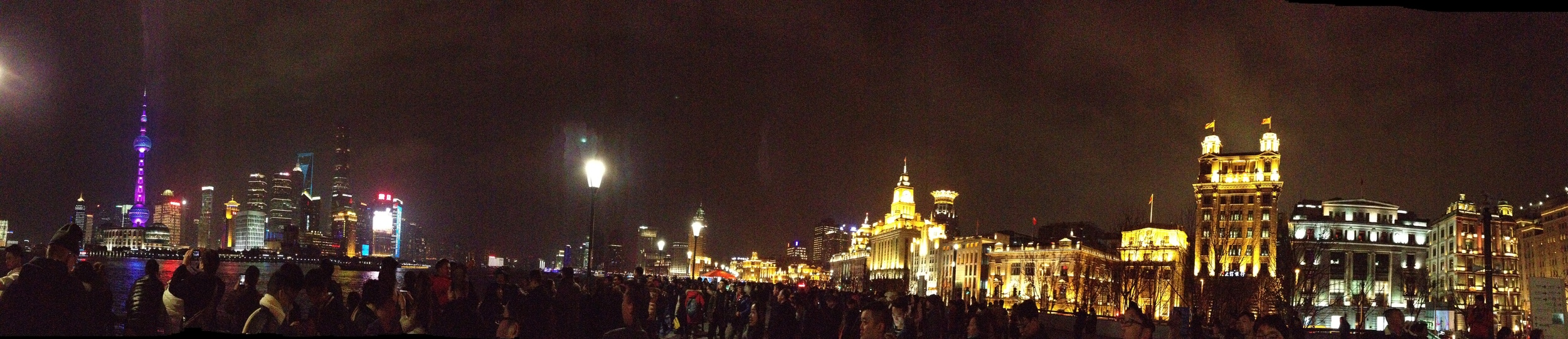 The Bund. New Shanghai on one side, Old Shanghai on the other side of the Huangpu River.