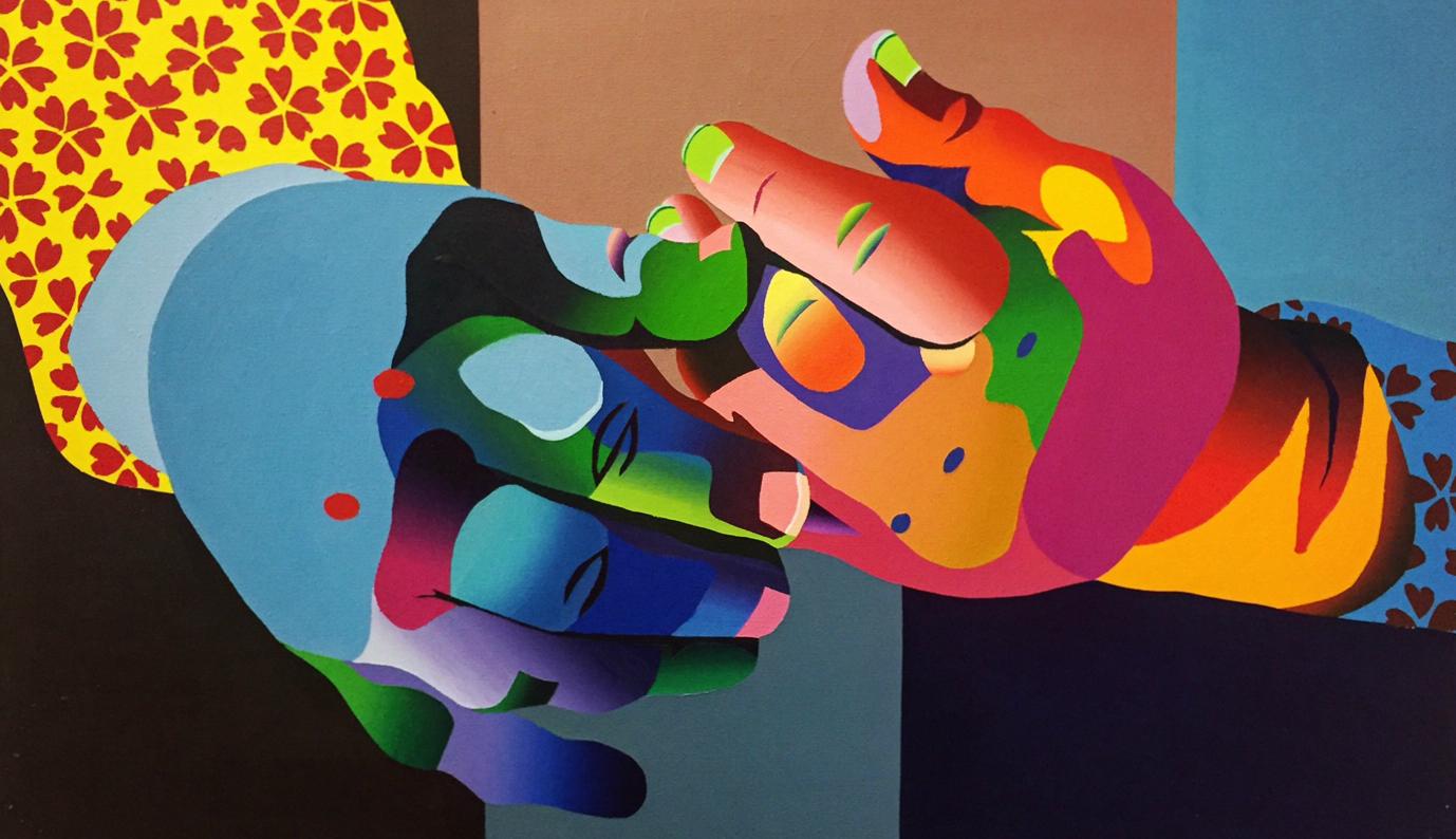 "Alex Costantino,  Reach ,acrylic on canvas 24"" X 30"""