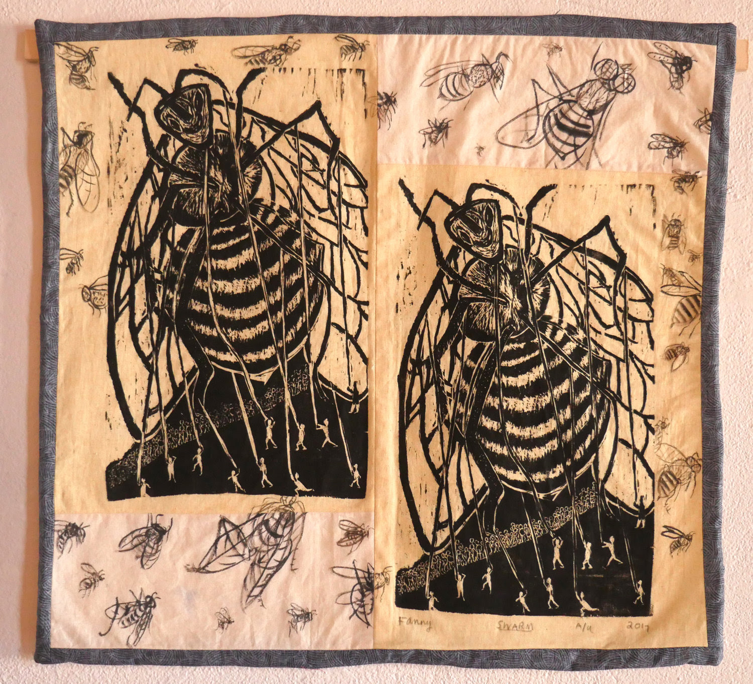 Fay Stanford,  Swarm,  woodcut and ink on cotton