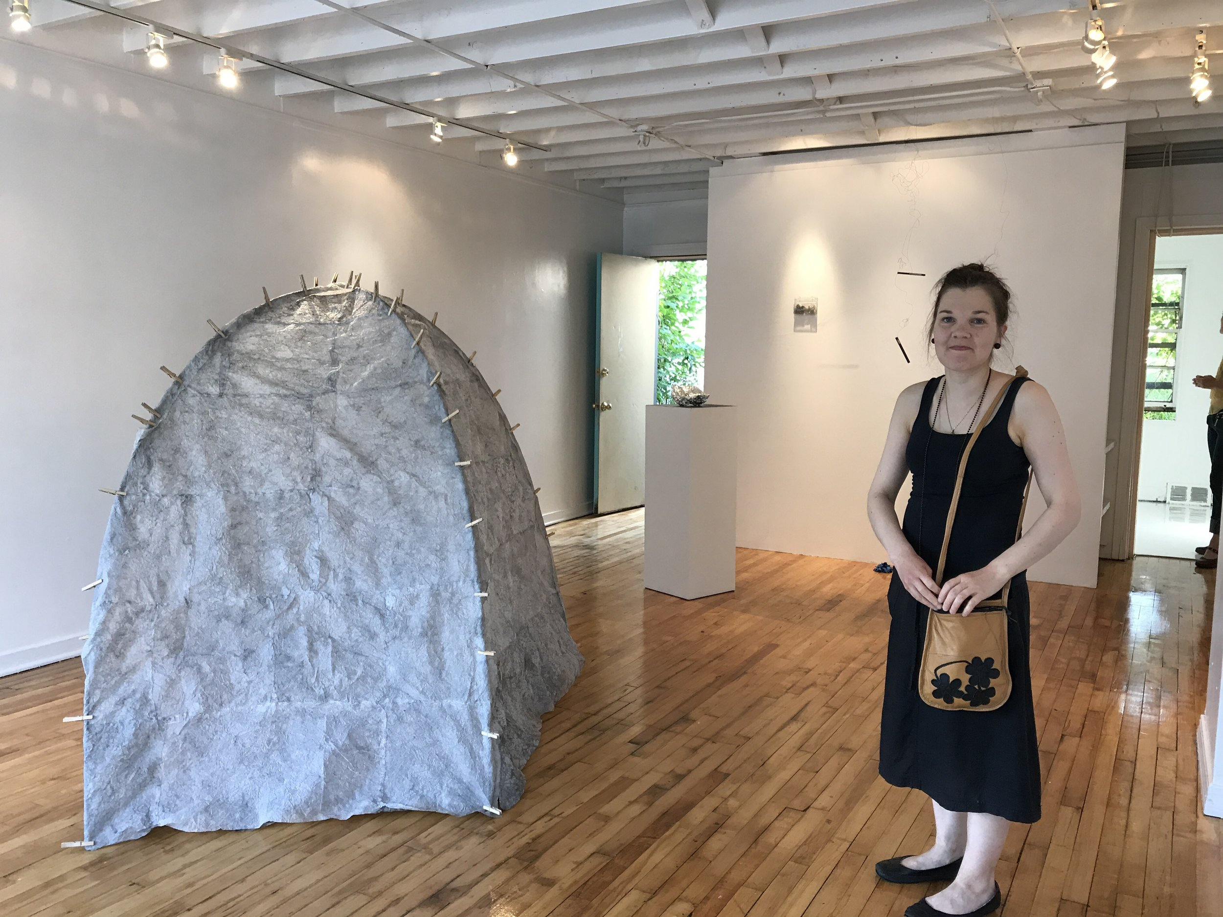 Mari with her installation at Hair and Nails Gallery