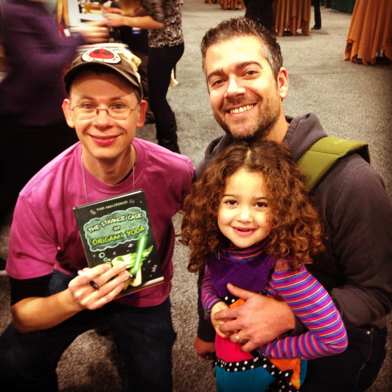 Tom Angleberger , me, and my munchkin.