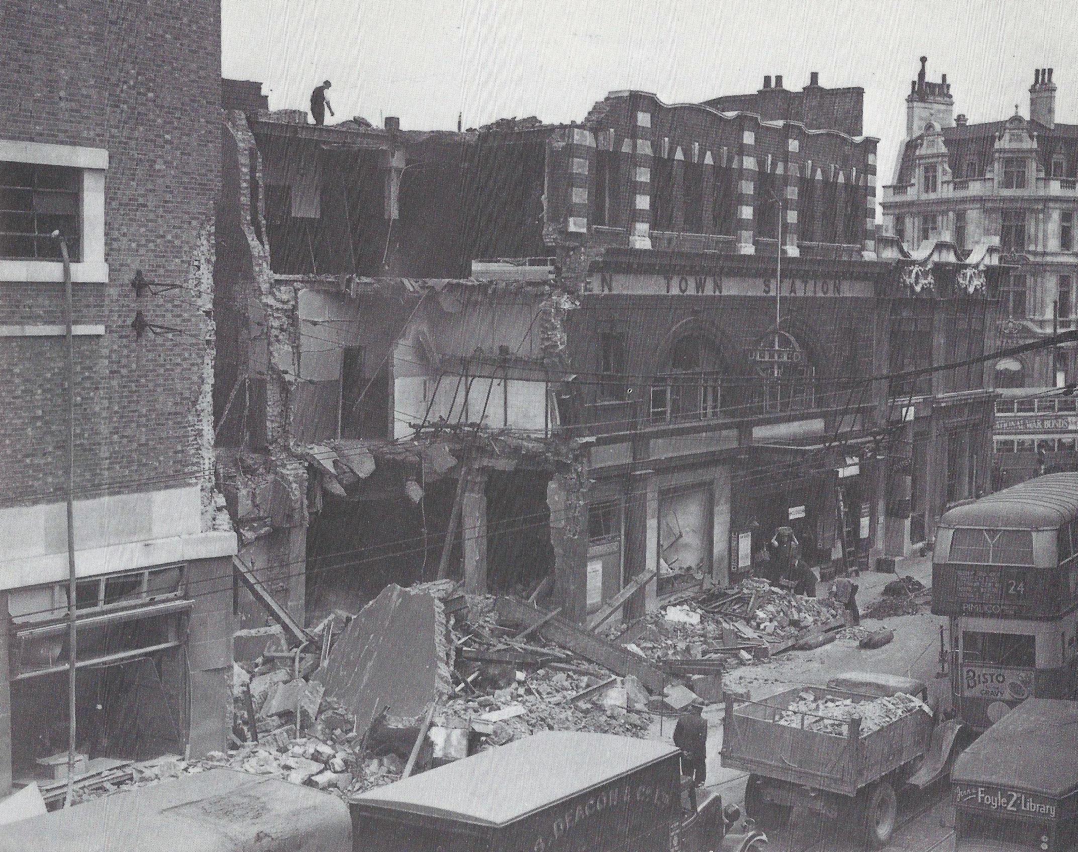 Camden Town tube station, damaged by a World War II bomb, from Camden at War