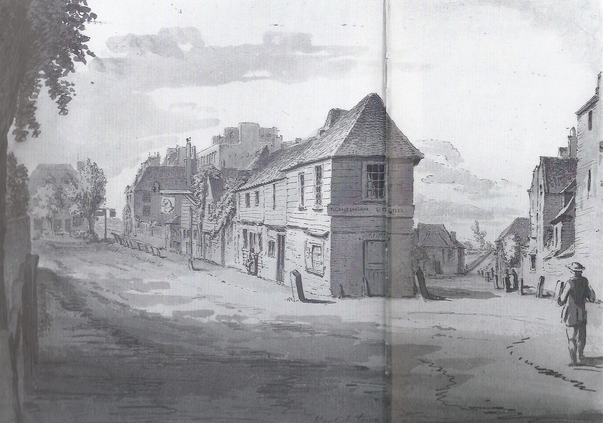 The view down Kentish Town Road and what is Royal College Street today, before 1886