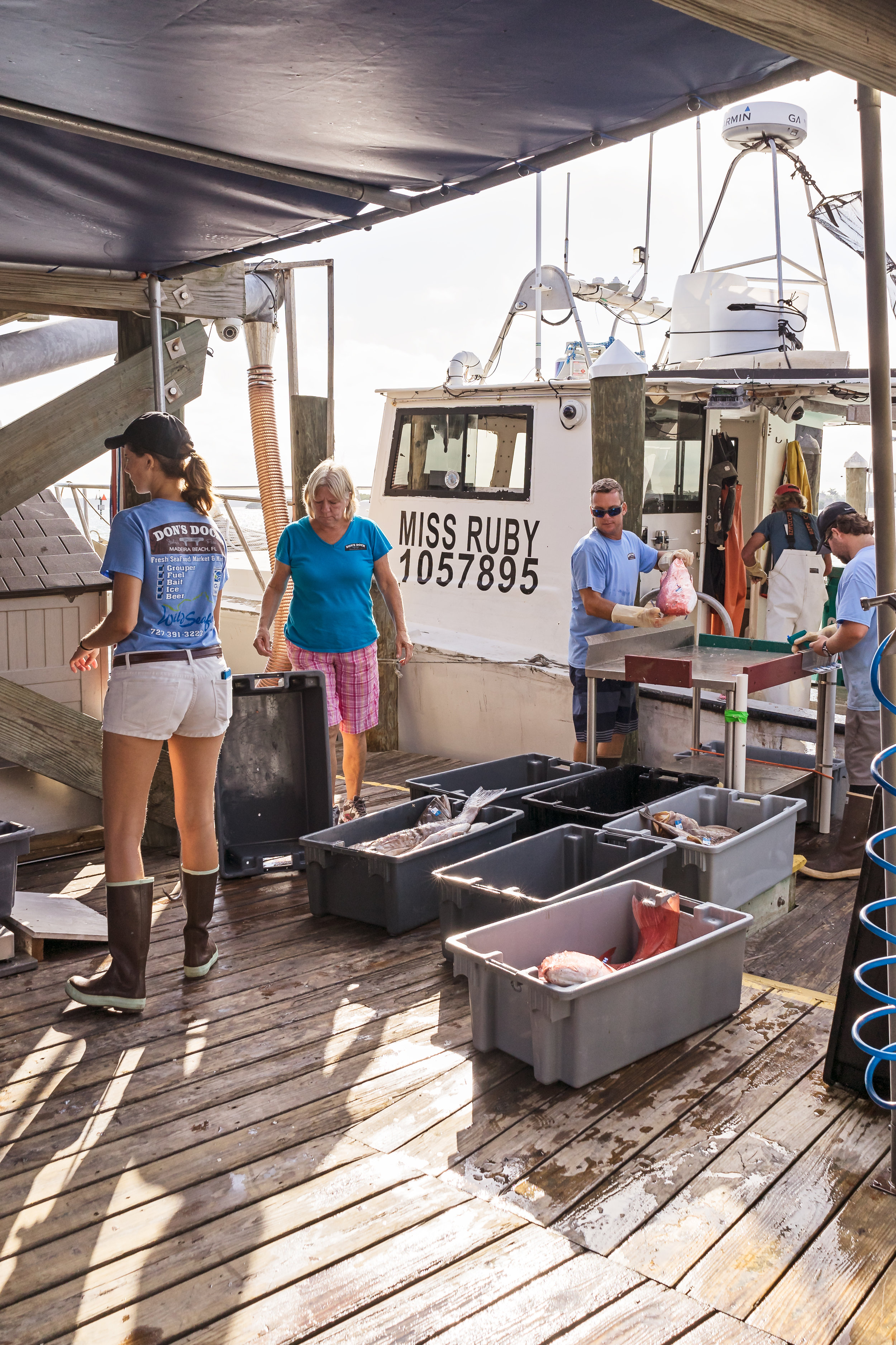The crew at Gulf Wild offloading the day's catch.