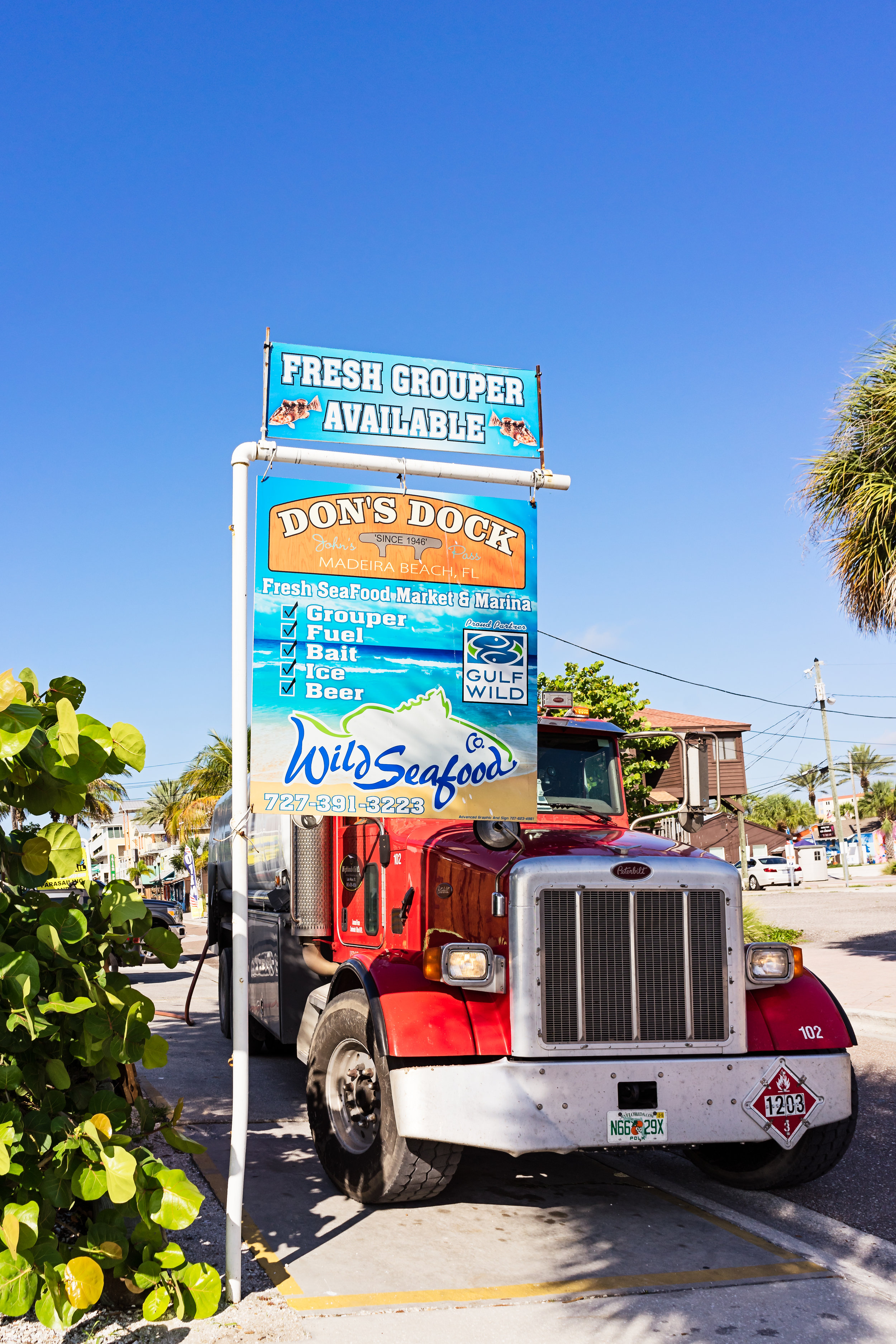 A fuel truck parked along side Don's Dock. Wild Seafood provides fuel for all boaters in the area.