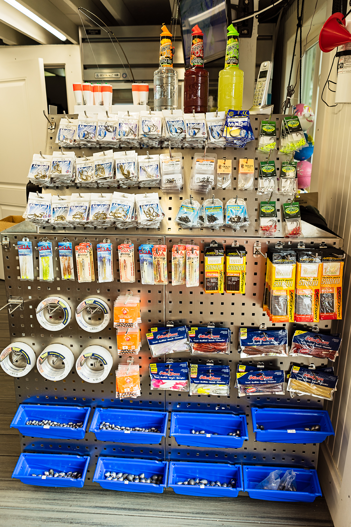 Want to fish off the dock but need more bait, line, or hooks? Wild Seafood also sells tackle items as well.