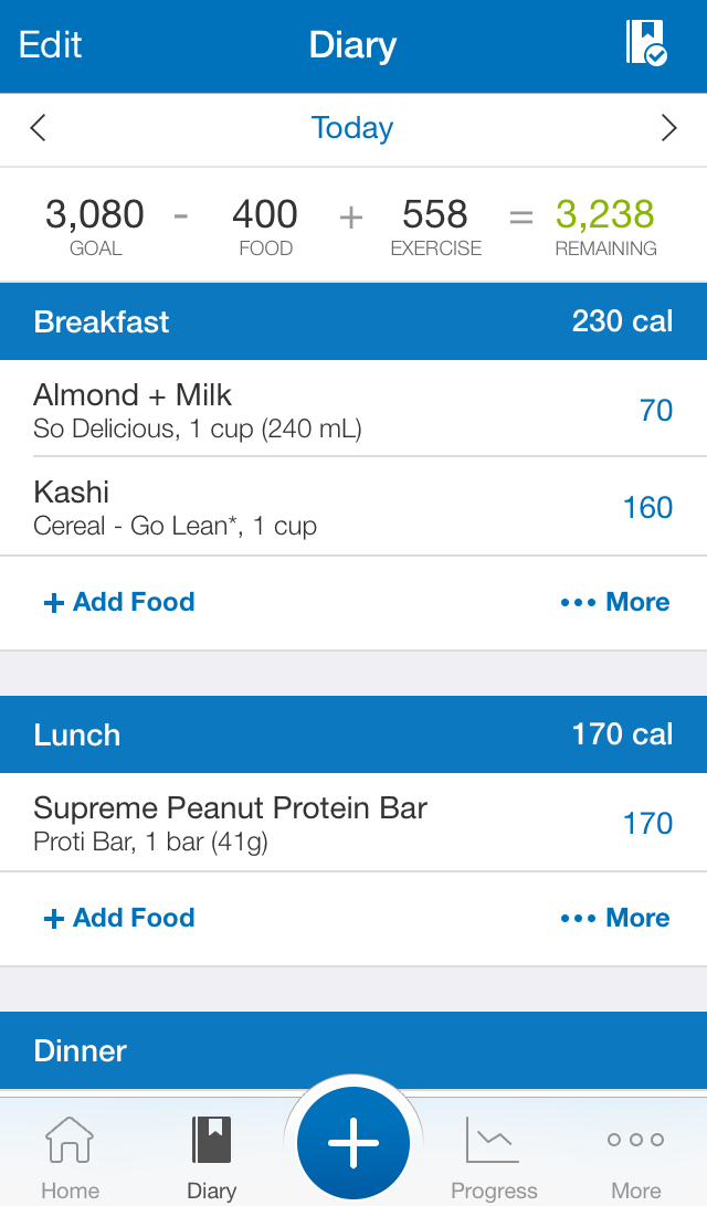 Here is a look at my diary on MyFitnessPal.