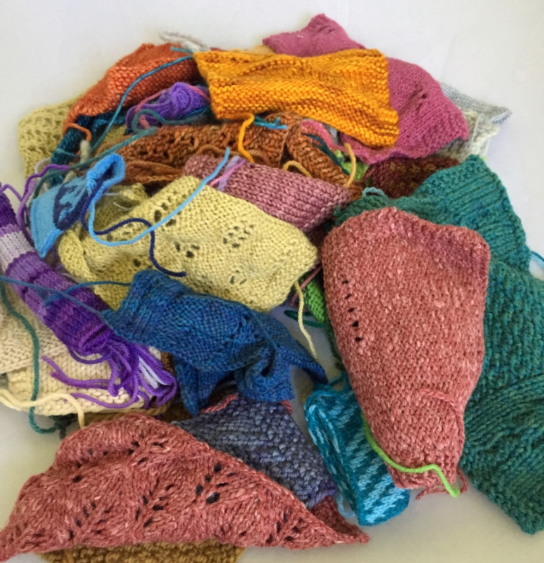 Swatches for checking gauge when hand knitting.