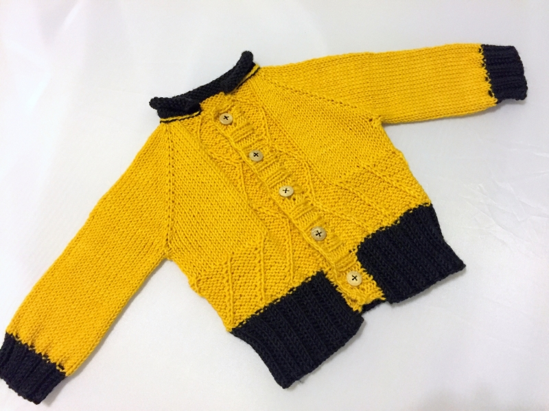 Chanchito baby cardigan by Kristen Jancuk, MediaPeruana Designs