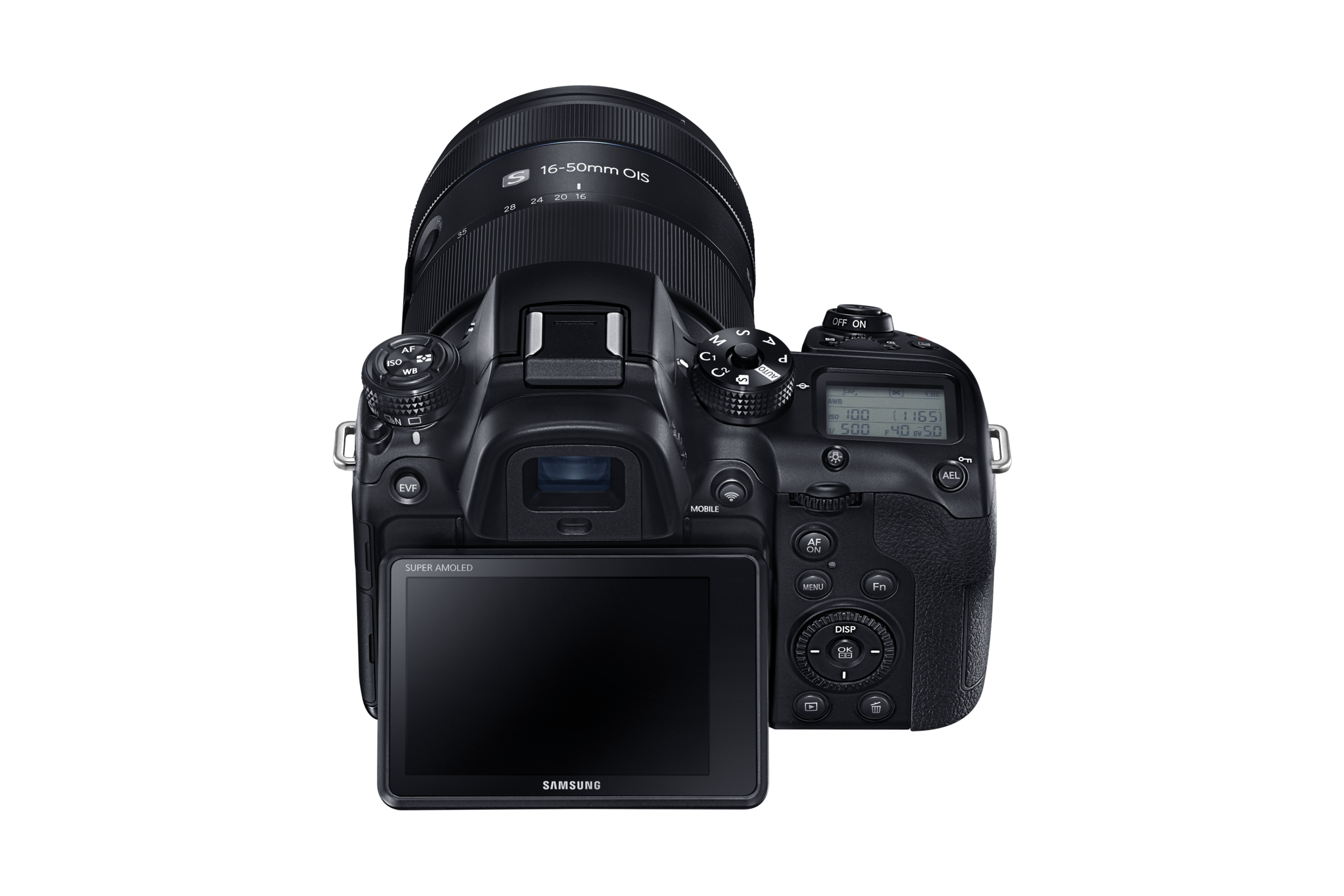 """28.2 megapixel APS-C BSI-CMOS sensor  Hybrid AF system with 205 phase-detect points covering 90% of the frame  15 fps burst shooting with continuous autofocus  4K (DCI 4K & UHD) video recording using H.265 codec  Can output 4:2:0 8-bit 4K video over HDMI  Stripe pattern AF illuminator with 15m range  Weather-resistant magnesium alloy body  Context-sensitive adaptive noise reduction  3"""" tilting Super AMOLED touchscreen display  2.36M dot OLED EVF with 5ms lag  LCD info display on top of camera  Built-in 802.11ac Wi-Fi and Bluetooth  USB 3.0 interface  Optional battery grip"""