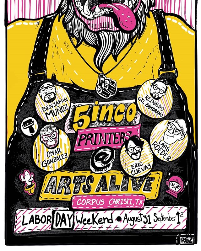 CHECK THIS OUT. Five printmakers assemble during the annual Arts Alive Festival @artcentercc taking place Labor Day weekend (Aug. 31st & Sept. 1st). Mark your calendars for ink slingin' and steamroller printin' by the beach with some badass printmakers I get the luxury to print with. They're tagged so be sure to follow them. . . . #art #artist #artwork #printmaking #printmaker #original #design #create #print #woodcut #woodblock #reliefprint #ink #steamroller #annual #event #beach #laborday #weekend #artsalivefestival #artsalivefestival2019 #artsalive #festival #5incoprinters #artcenterofcorpuschristi #corpuschristi #texas #cctx #follow #ogprints
