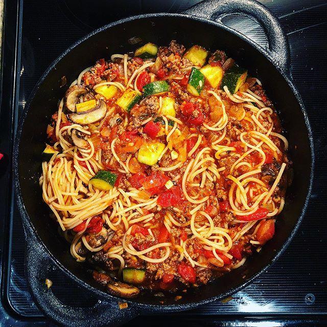 Garden Veggie Spaghetti In Cast Iron. | #bespokepost #oldmountaincastiron #homecooking #leftovers #spaghetti