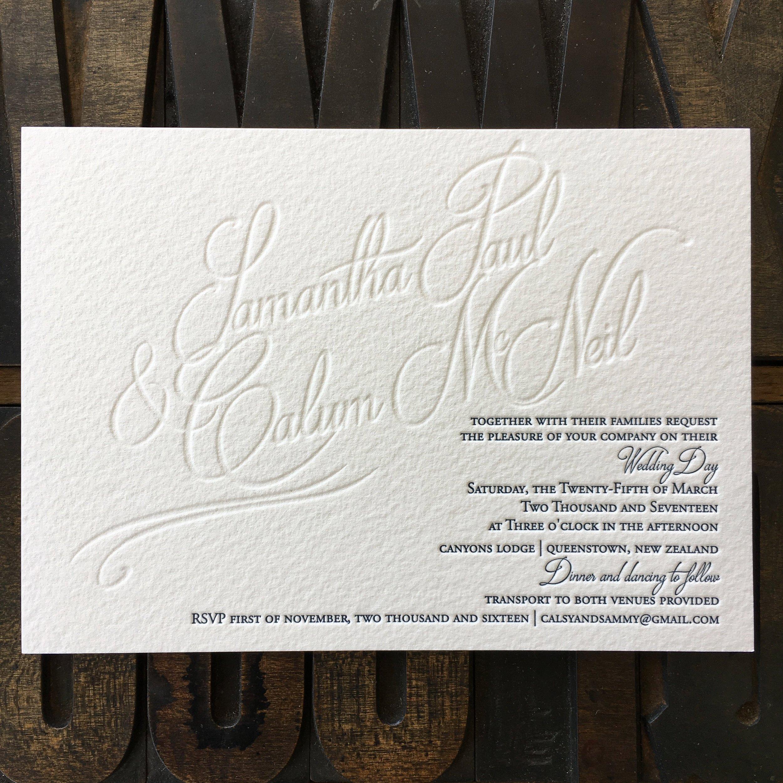 Samantha & Calum, one colour + blind letterpress print on 500gsm
