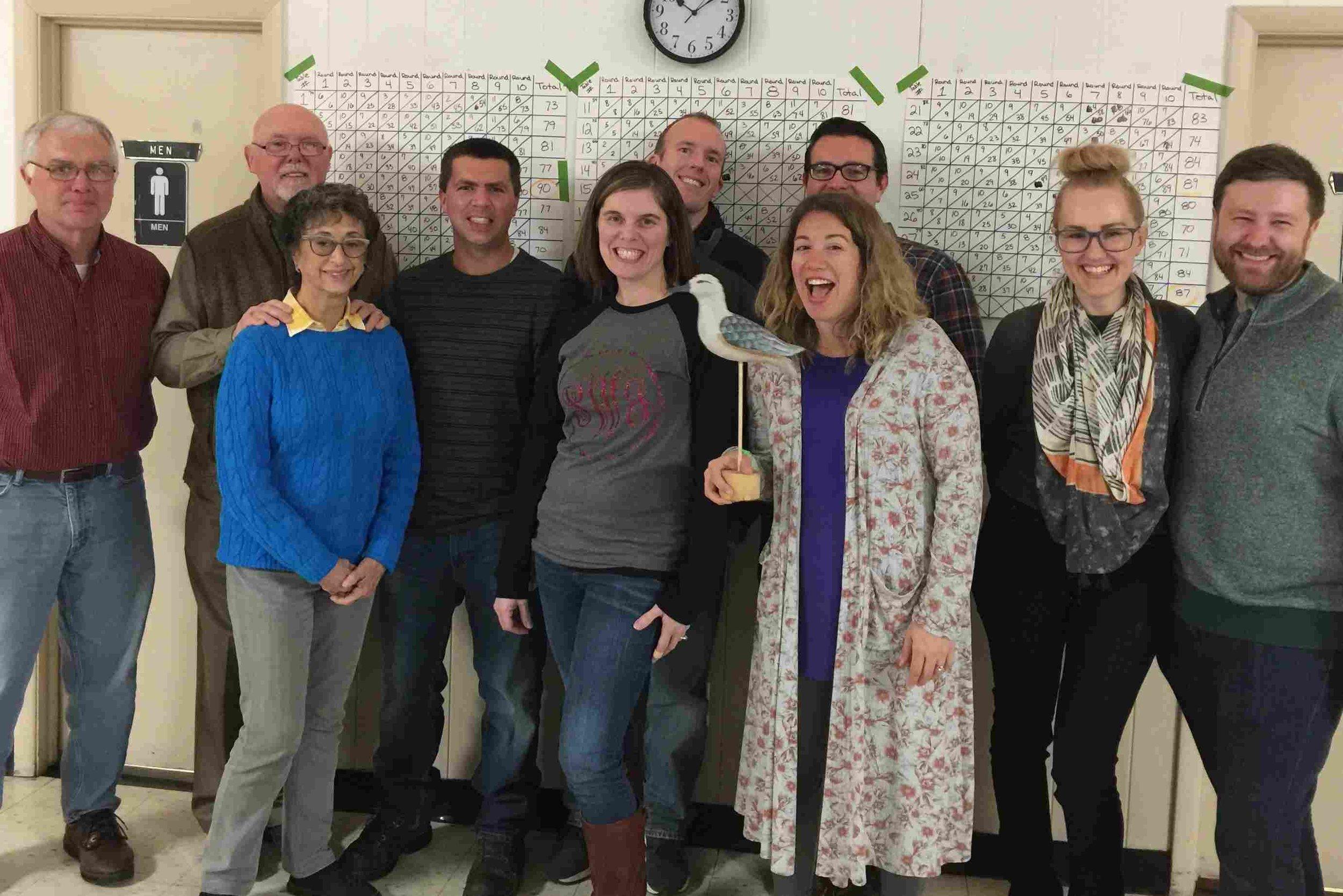 Front (left to right) - Terri Drew, Stephanie Wilson, Amanda Finn, Zhenya Hogsett, Will Hogsett  Back (left to right) - Dick Drew, Dan Drew, Jeff Drew, Jim Wilson, Jeremiah Finn