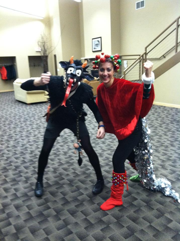 Me as Krampus with my friend, Nadia. She threw a Chrstmas Heroes and Villains party with her husband. Needless to say, I won the costume contest.