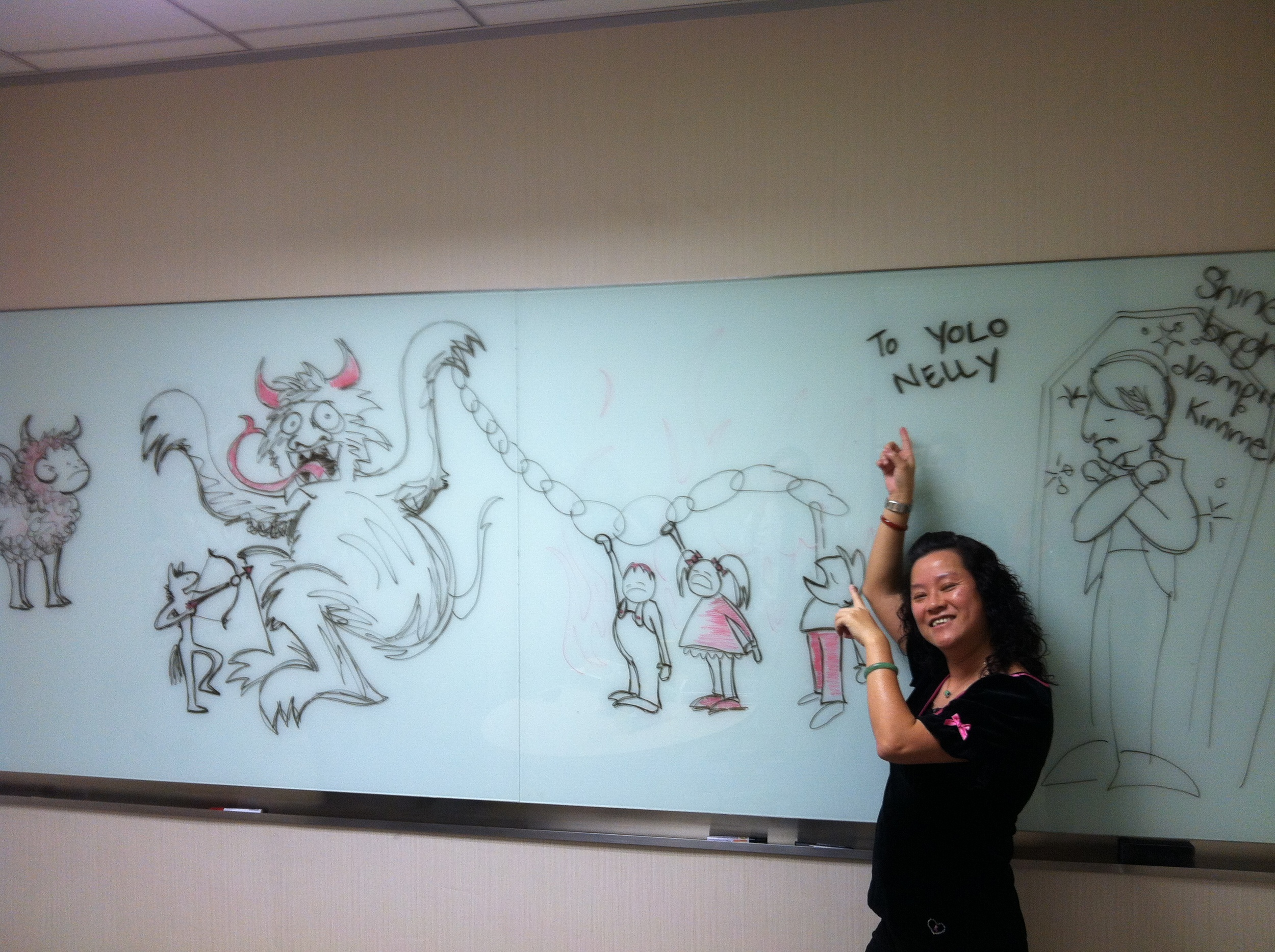 I taught my friends in China all about the Krampus, as well. As a farewell gift, I drew this picture of the Krampus on a white board for my friend, Nelly. She loved it. (she also loved learning abut YOLO, so now we call her YOLO Nelly)
