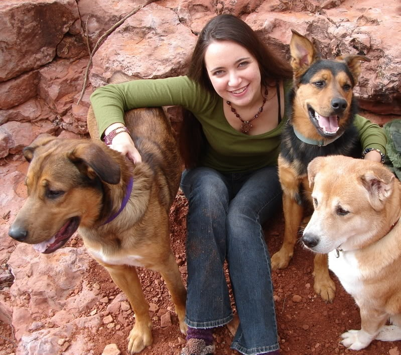 Scarlett with her dogs Sinjin, Doveland, and Misu in Sedona