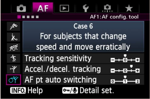 Canon's default AF Case 6 settings on the 1DX (it's a similar story on the 7D Mark II, 5DS and 5DR).