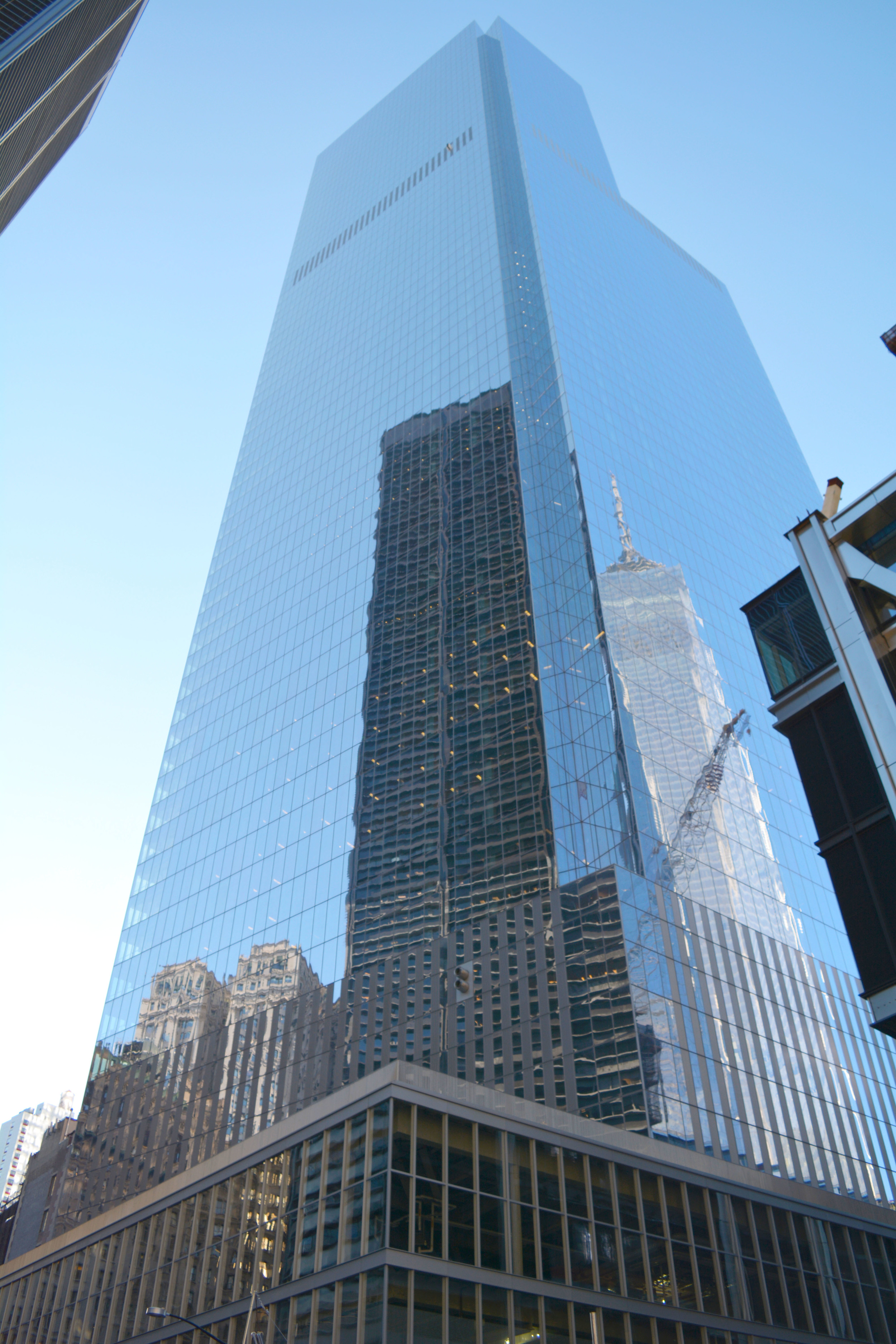 Freedom Tower and crane reflection