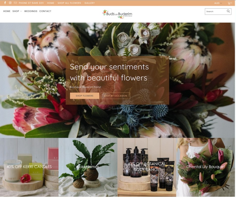 Buds on Buderim ecommerce website