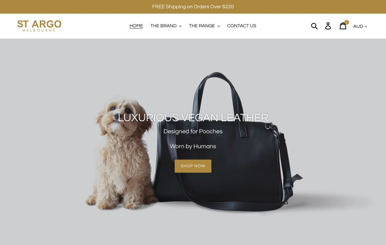 St Argo Melbourne Luxury Dog Carriers. Ecommerce site.