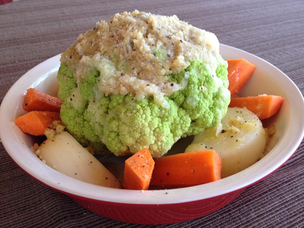 Baked Cauliflower Coated Raw