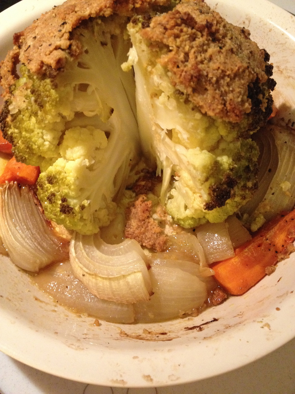 Baked Cauliflower Cooked Cut