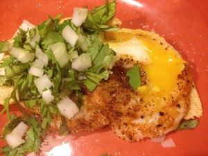 tortilla egg with cilantro and onion