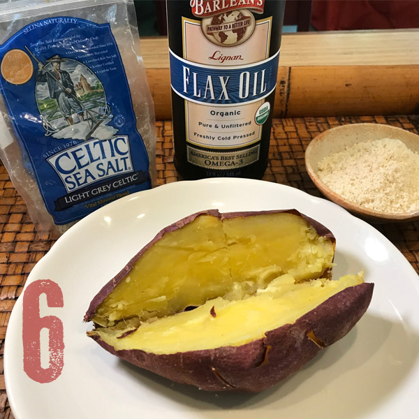 Sesame Seed Sweet Potatoes - This is the recipe that started my cooking career! Ground Sesame Seeds and Barlean's High Lignan Flax oil. OMG, you can't believe how luscious this is. Learn how to make all your plant foods become luscious - the easy way.