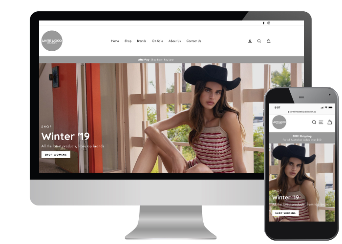 White Wood Boutique - With an established bricks and mortar store it was time for an upgrade on White Woods online presence. Using one of the newest and most versatile Shopify themes, with some added customisation, made this project a success.