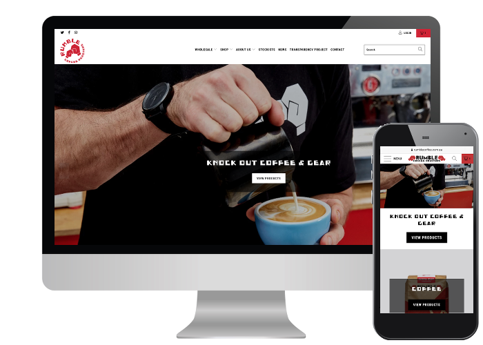 Rumble Coffee - Rumble Coffee is well known brand down here in Melbourne but they were struggling with maintaining their Woo Commerce site. We were only happy to help them get up and running on Shopify.Built on: Shopify
