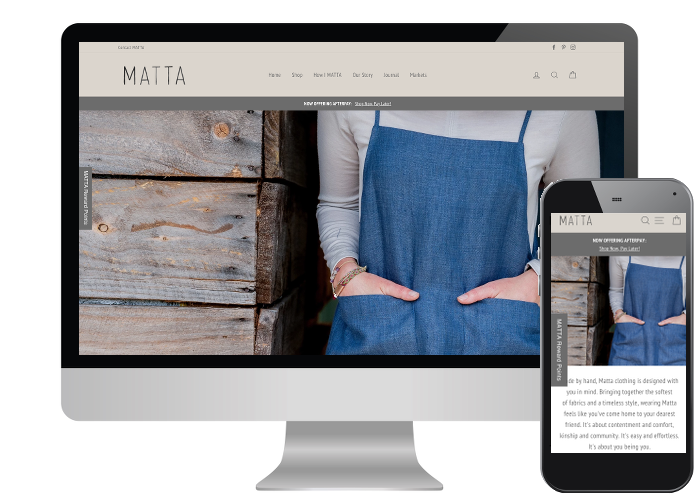 Matta Clothing - Yet another website from the entrepreneurial people of Inverloch, they are on fire down there! Great images and a neutral colour scheme makes this site a pleasure to shop on.Built on: Shopify
