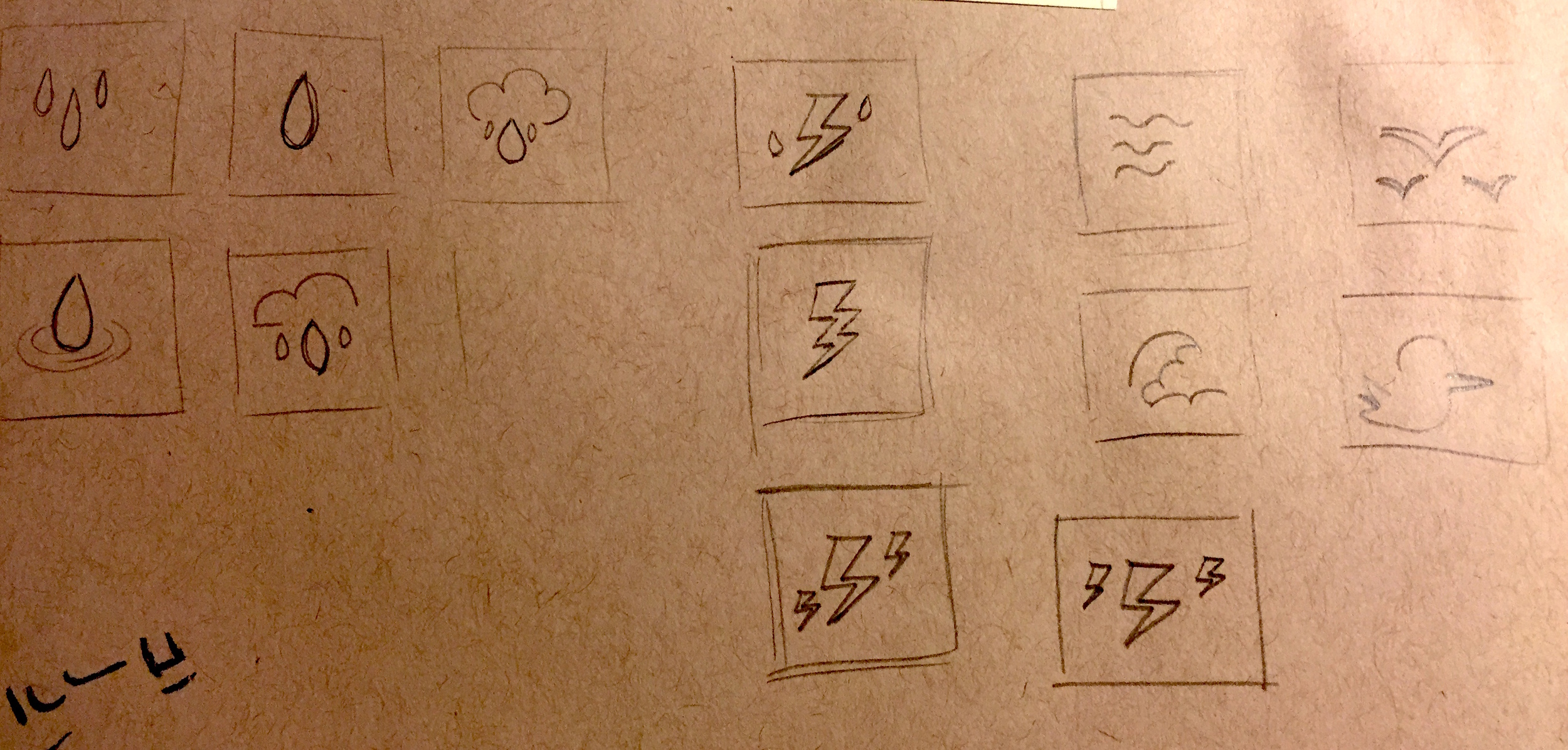 Sketching helped me narrow down the symbols I'd use in the prototype.