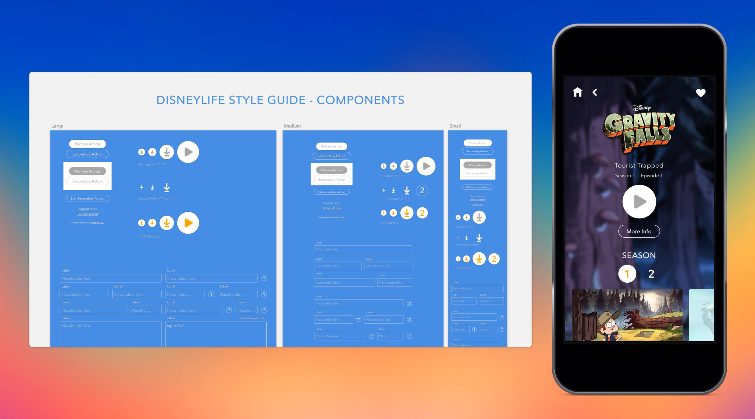 The UI components section of our DisneyLife style guide and an example of its implementation.