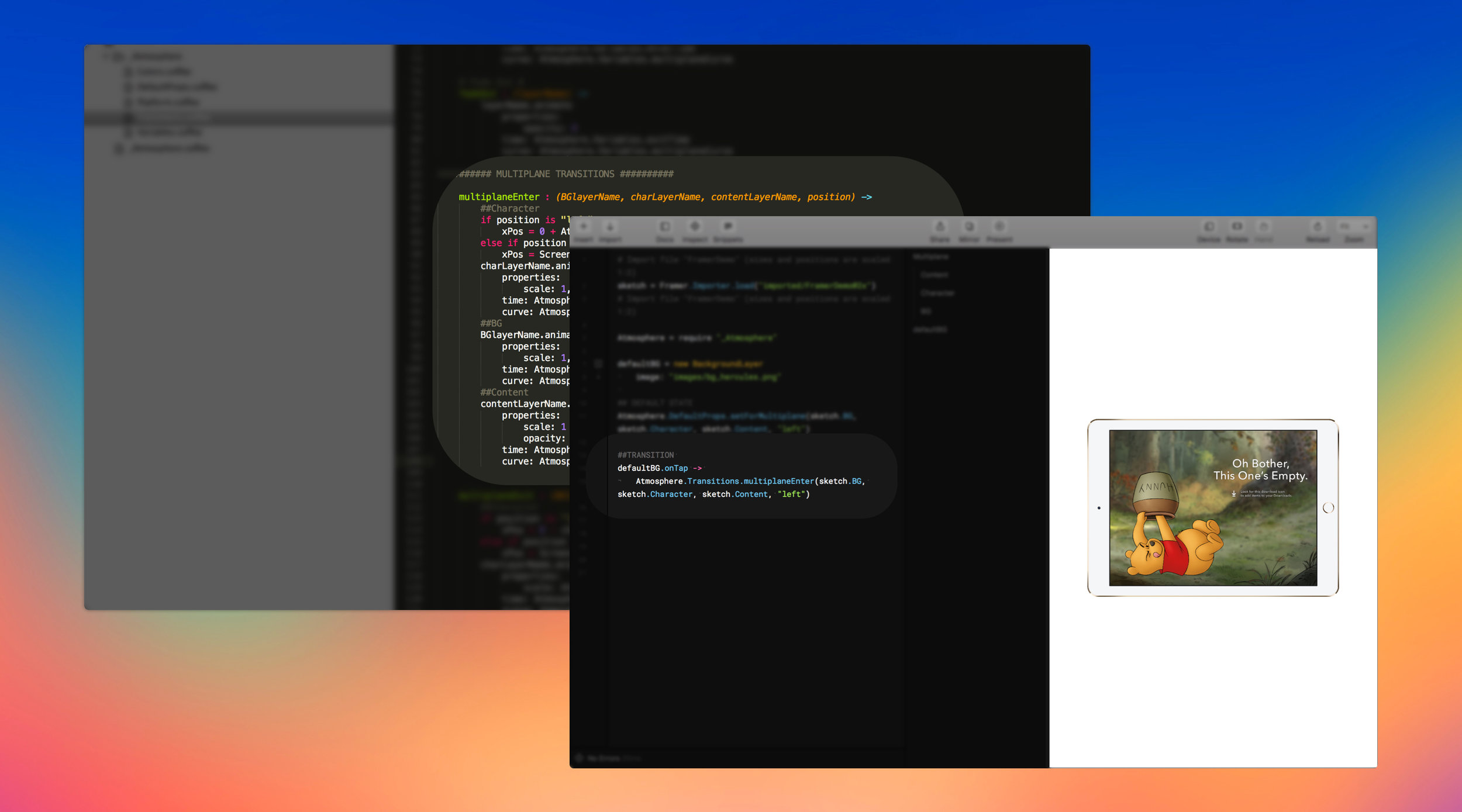 Our Transitions Library (shown in back) allows us to pull a heap of functionality into Framer (shown at front)with a few lines of code. A special thanks to the team at  Walt Disney Parks and Resorts Online  for their inspiration and guidance in this endeavor.