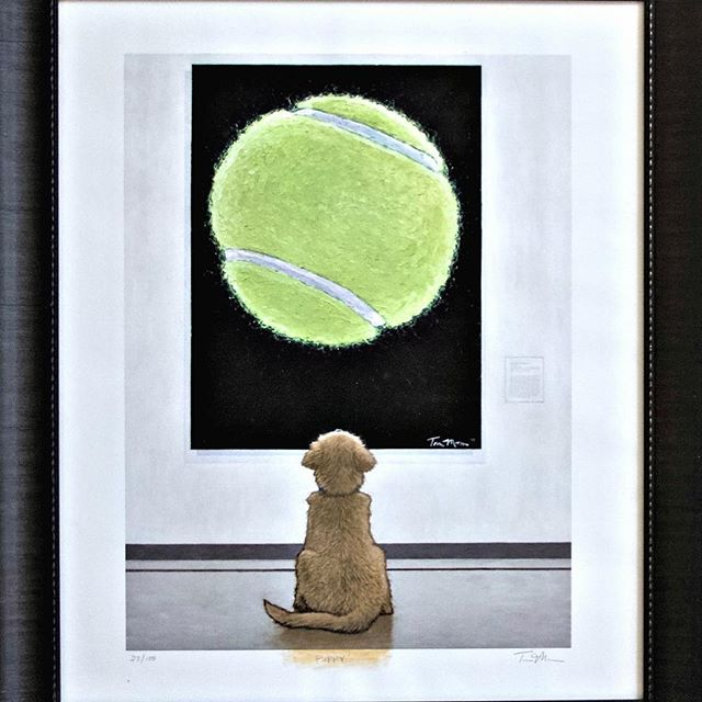 """Give your sweetheart some puppy love for Valentine's Day! 🧡 GRRNT is auctioning off this limited edition framed print of Golden Retriever """"Puppy at the Museum"""" by Tom Mosser at ebay.com/itm/264173472026."""