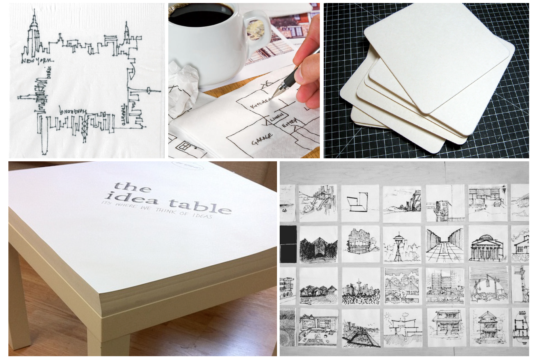 """A playful creative activation invites the visitor to express her creativity and sketch on coasters, napkins or sketchpads located in the bar area.Brand ambassadors will use these sketches to create an instagrammable gallery wall, which ties into OBE's brand message """"Engineering Your Creativity."""""""