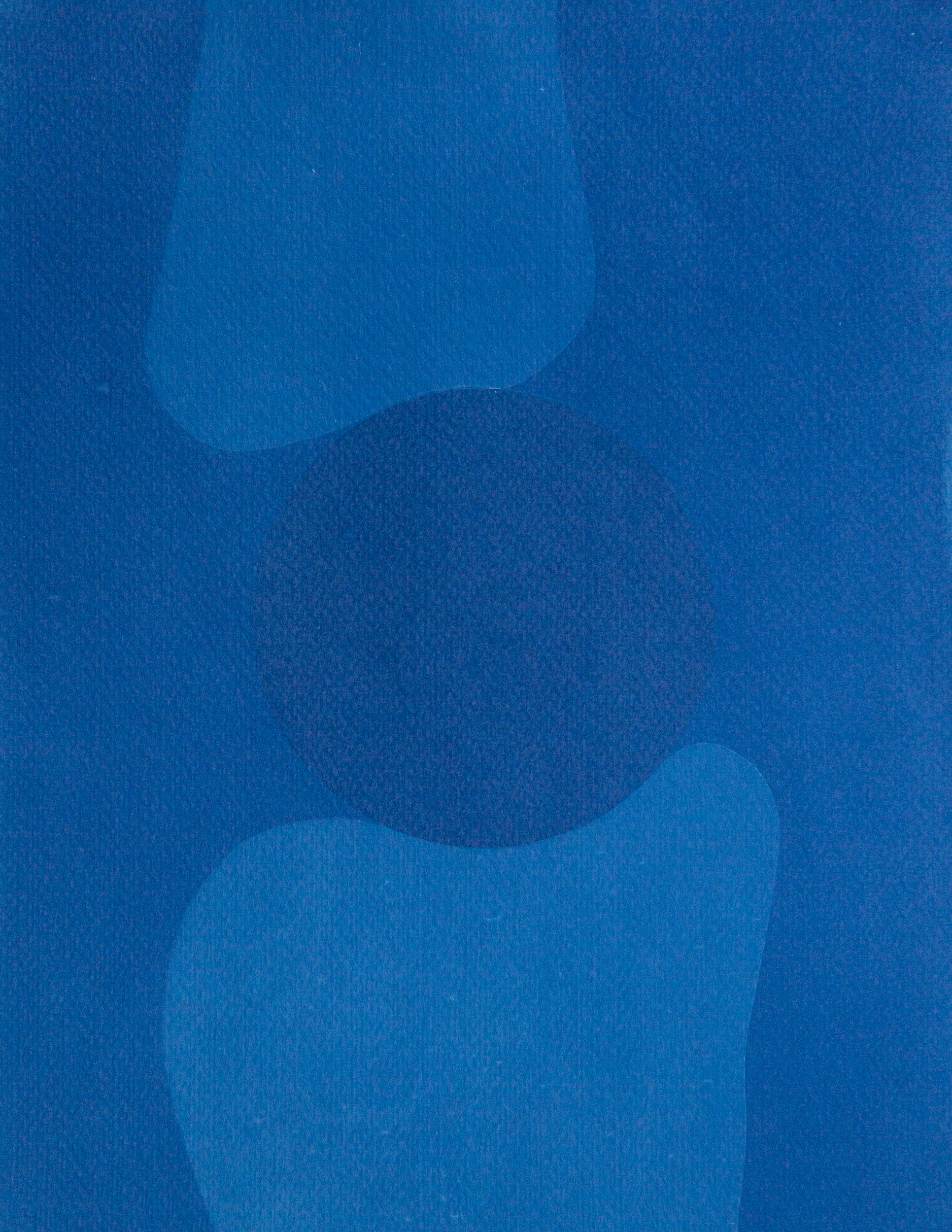 "night moon II, cyanotype, watercolor paper, 11""x14"", 2019"