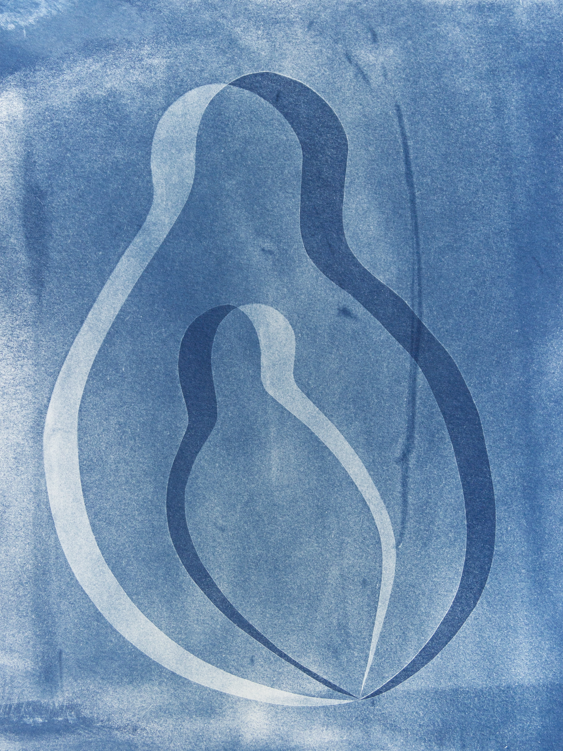 "womb II, cyanotype, watercolor paper, 9""x12"", 2019"