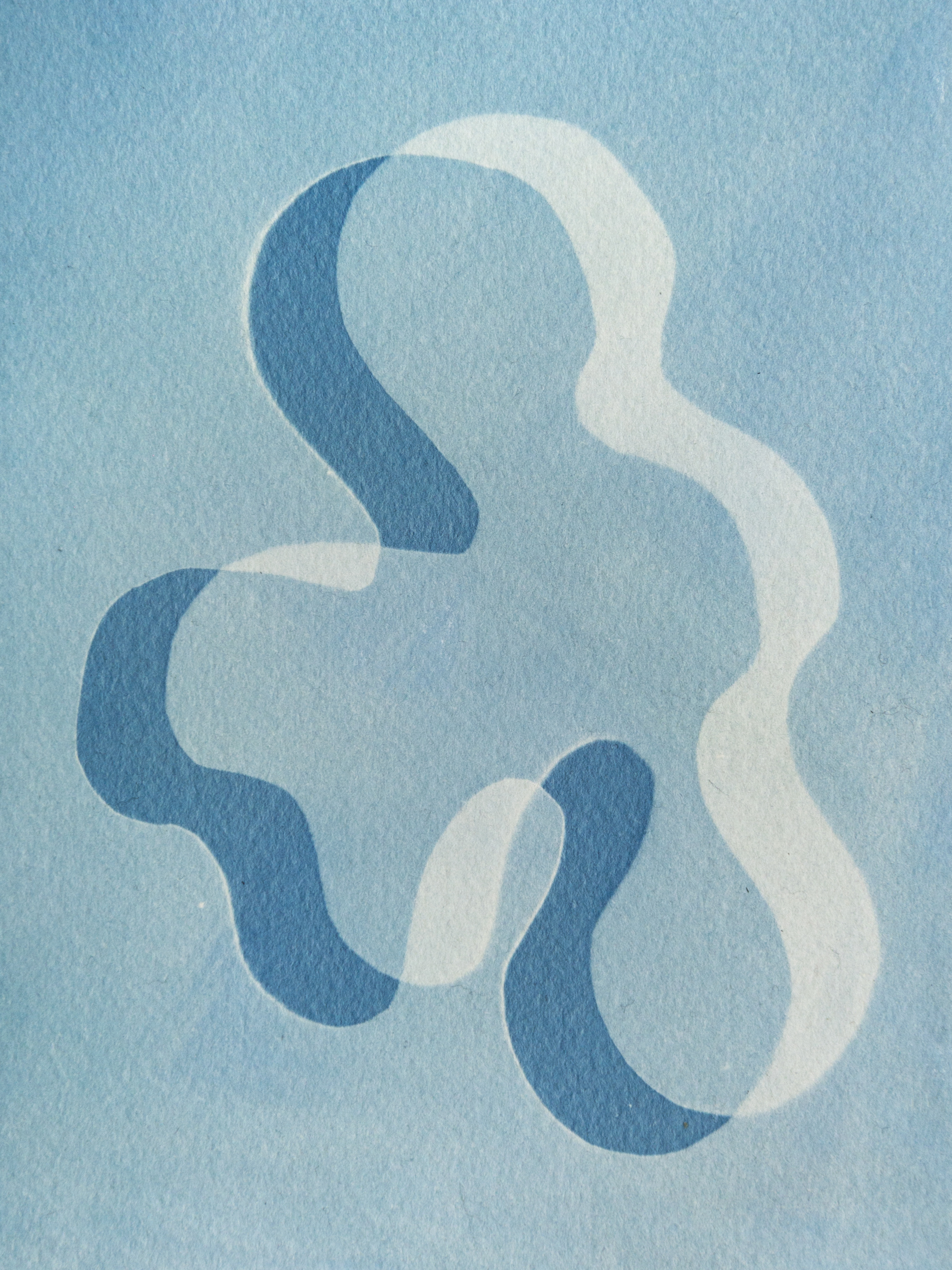 "droplet, cyanotype, watercolor paper, 6""x4"", 2019"