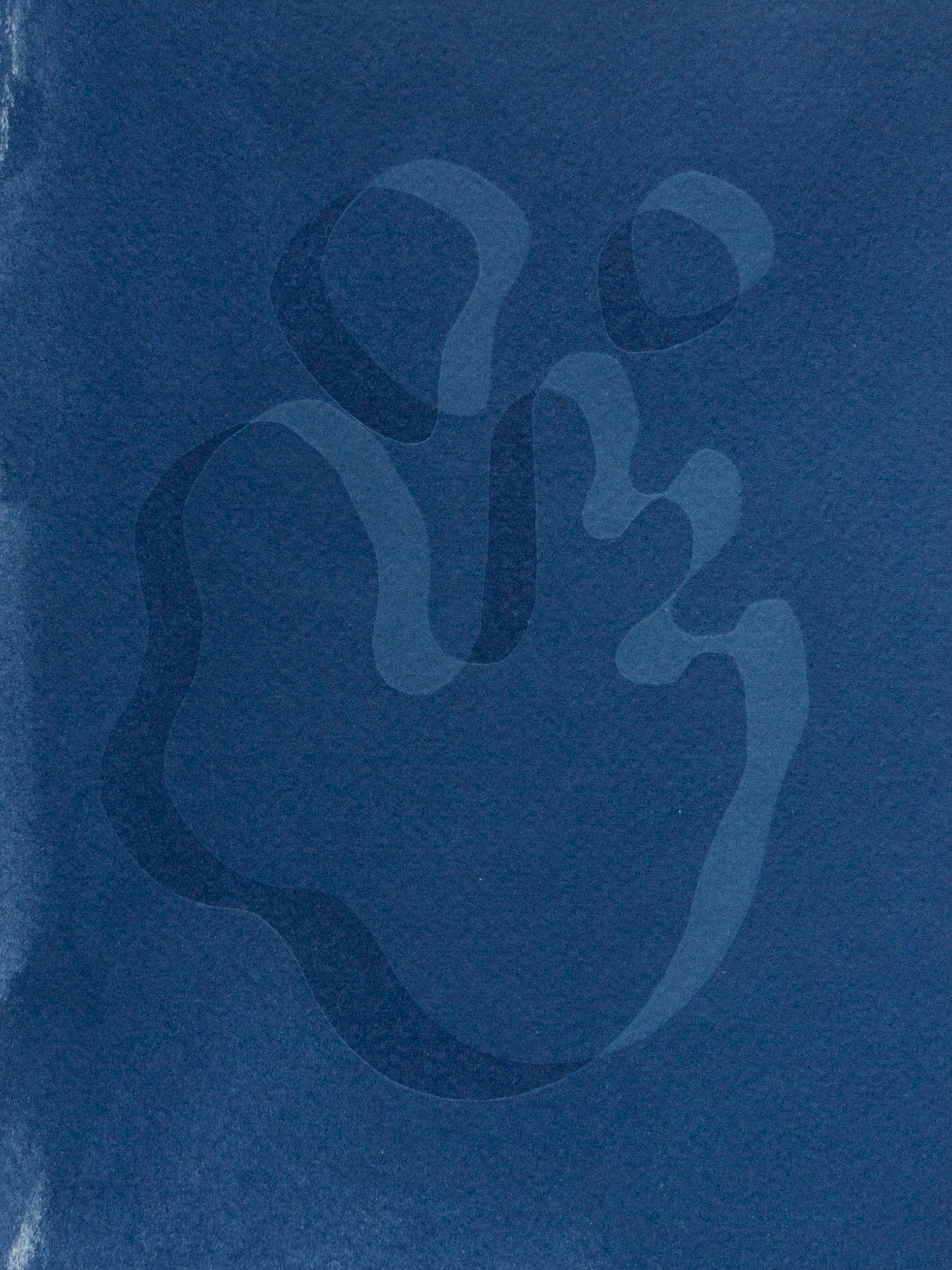 "triple droplet, cyanotype, watercolor paper, 6""x4"", 2019"