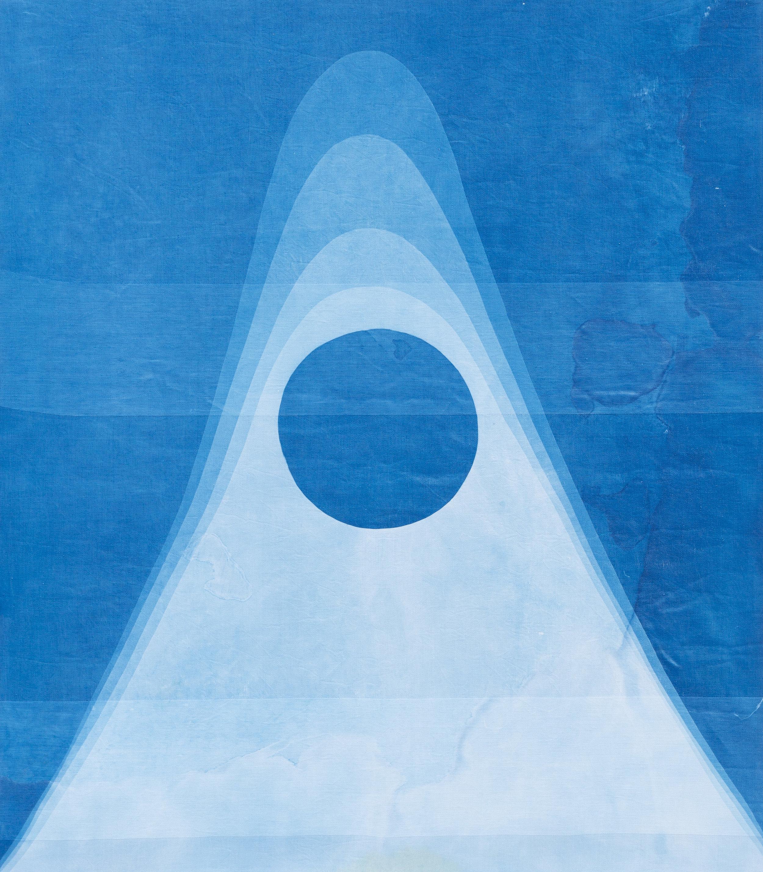 "gravity I, 2019, cyanotype on vintage linen damask stretched on wood frame, 32"" x 28"""