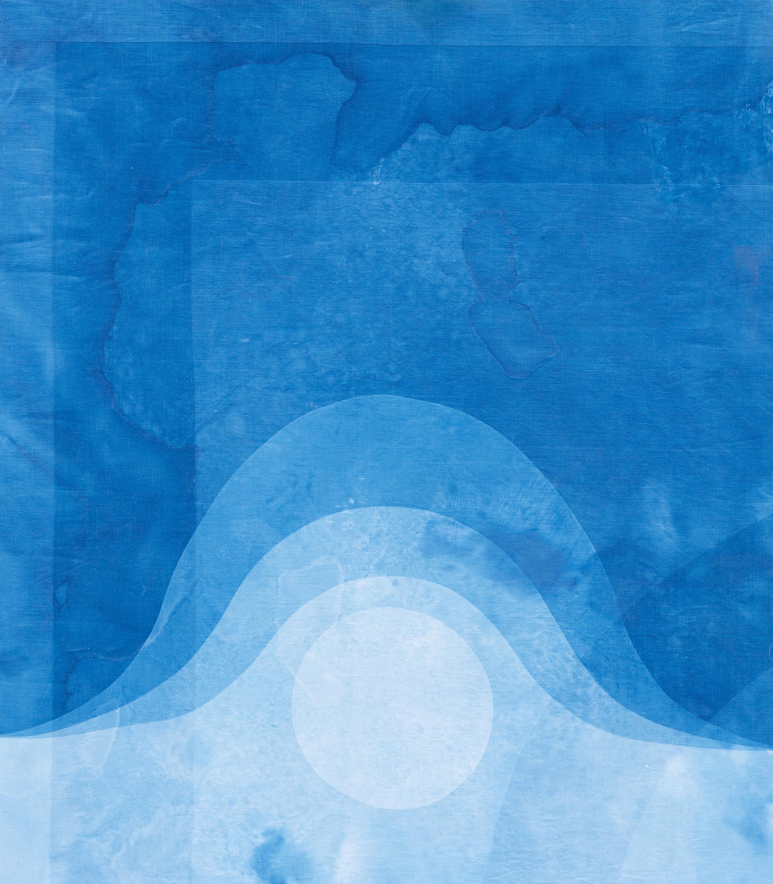 "moonrise, 2019, cyanotype on vintage linen damask stretched on wood frame, 32"" x 28"""