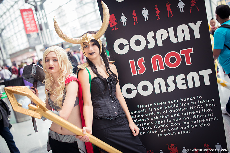 """Cosplay is not Consent"" signs posted around the con."