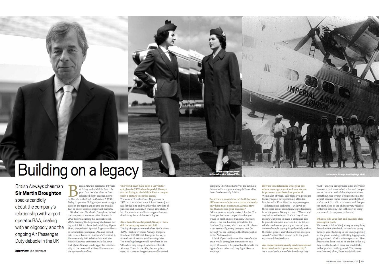 Interview with Sir Martin Broughton, chairman, British Airways