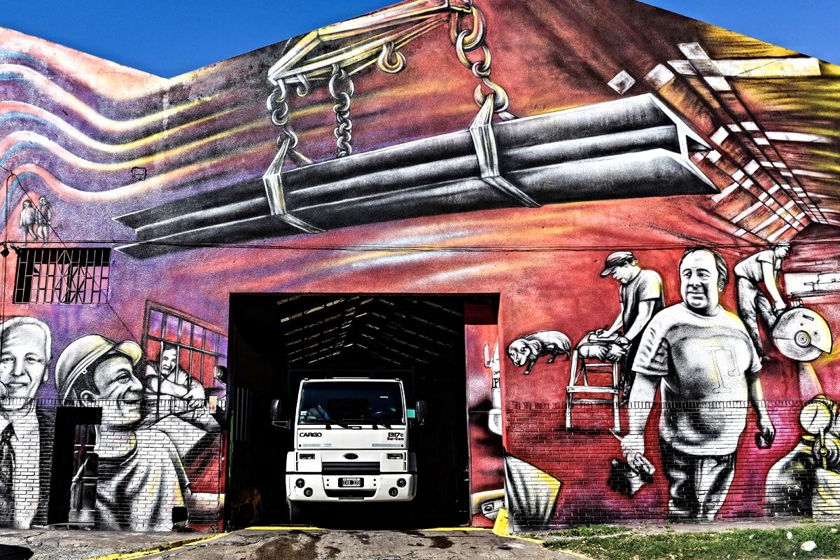 A metal factory in Barracas is part of artist Pelado's vast work, 'The Return of Quinquela'.