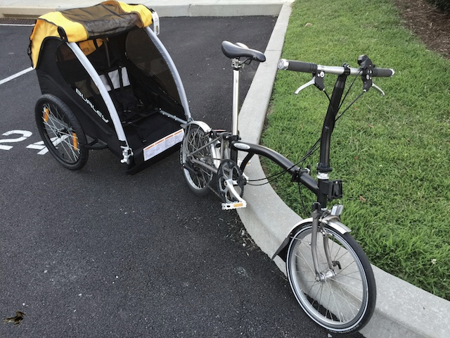 Burley Bee trailer and Bromptom folding bike